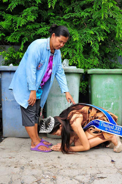 """Hoa hậu """"nhặt rác"""" Thái Lan gian dối về học vấn - 1"""