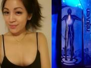 Cô gái xinh đẹp chết cứng trong máy giảm béo