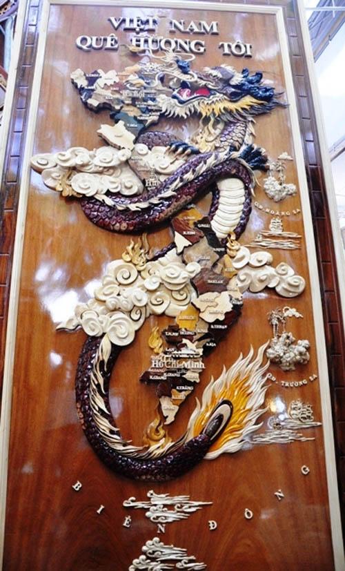 Ngắm bản đồ Việt Nam được trang trí bằng 70 loại gỗ - 11
