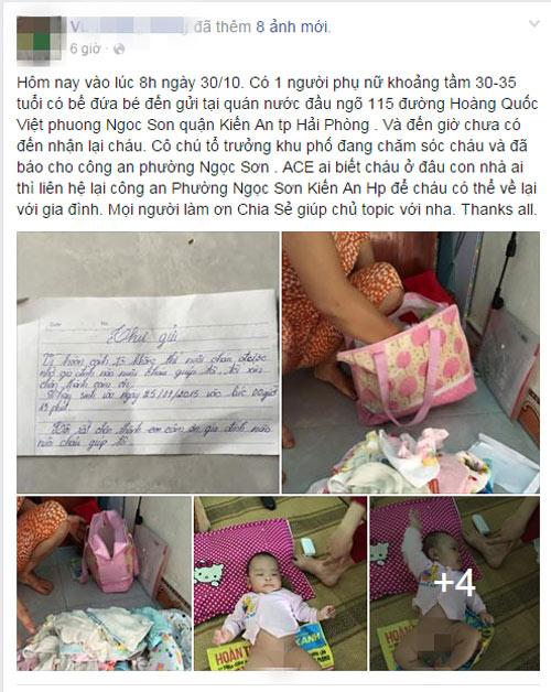 Xót xa bé gái 3 tháng tuổi bị mẹ bỏ rơi ở quán nước - 1