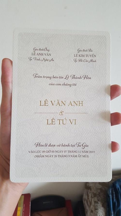 Lộ thiệp cưới giản dị của Tú Vi, Văn Anh - 2