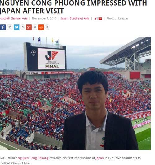 Báo châu Á đưa tin chuyến đi Nhật của Công Phượng - 1