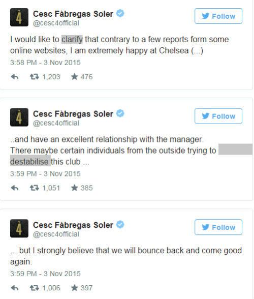 Fabregas lên tiếng vụ bị tố nổi loạn chống Mourinho - 1