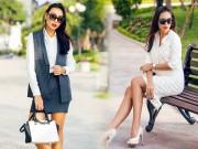 Thời trang - Chân dài Diệu Huyền thanh lịch với đồ công sở
