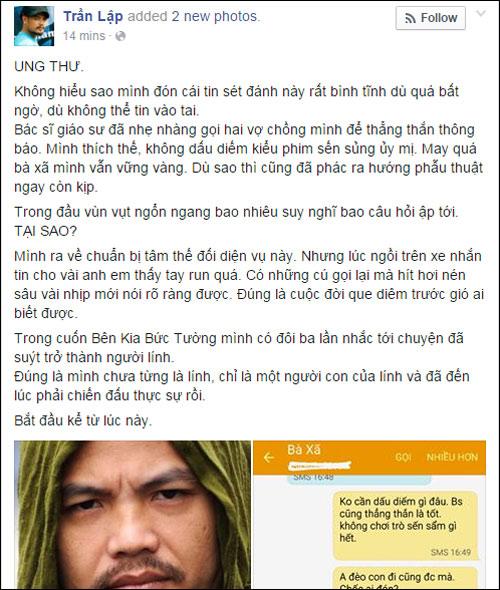 Trần Lập bị ung thư trực tràng gây sốc làng nhạc Việt - 1
