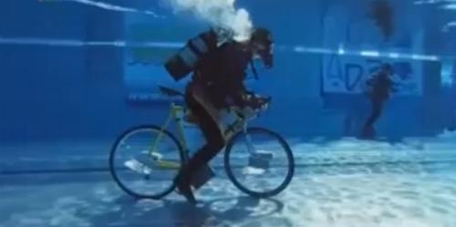 Môn thể thao lạ, đạp xe dưới nước - 1