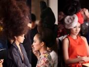 Thời trang - Mẫu Việt đội 8kg tóc trên đầu, ăn vội trước khi diễn