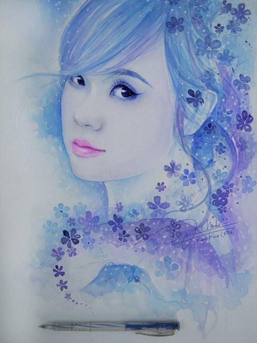 9x vẽ hoa hậu Phạm Hương đẹp lung linh - 7
