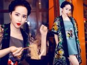 Váy - Đầm - Quỳnh Nga khoe môi đỏ da trắng như gái Nhật