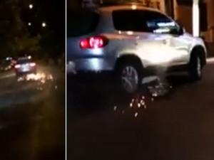 Tin tức trong ngày - Clip: Ô tô kéo lê xe máy tóe lửa qua nhiều tuyến phố HN
