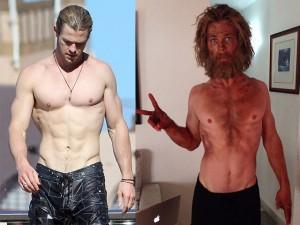"""""""Thần Sấm"""" Chris Hemsworth gây sốc với thân hình ốm o"""