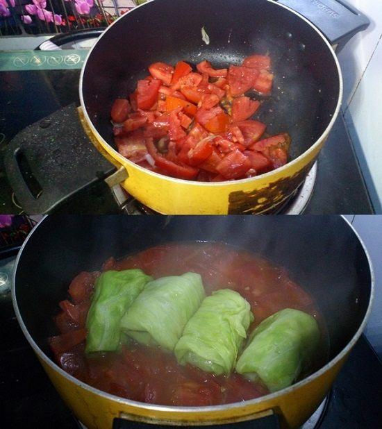 Ngon ngất ngây bắp cải cuộn thịt sốt cà chua - 3