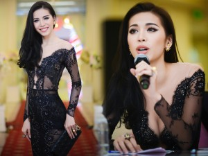Thời trang - Minh Tú đẹp hút hồn với váy cổ V mỏng tang