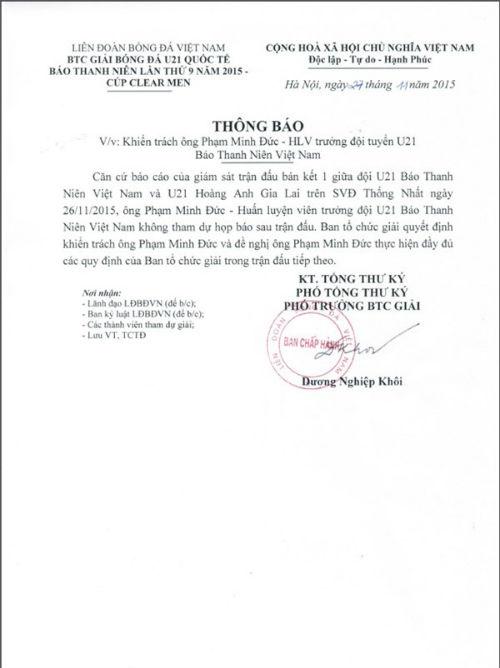 BTC giải khiển trách HLV Phạm Minh Đức - 2