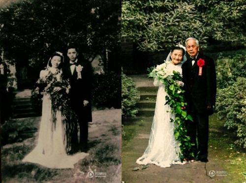 Cặp đôi tái tạo ảnh cưới nhân kỷ niệm 70 năm ngày cưới - 1