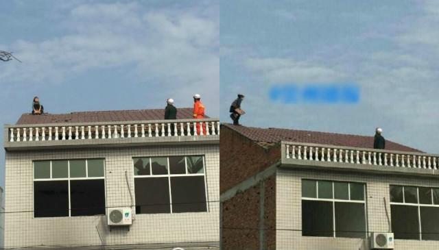 Cãi nhau với chồng, vợ leo lên mái nhà dỡ ngói ném xuống - 1