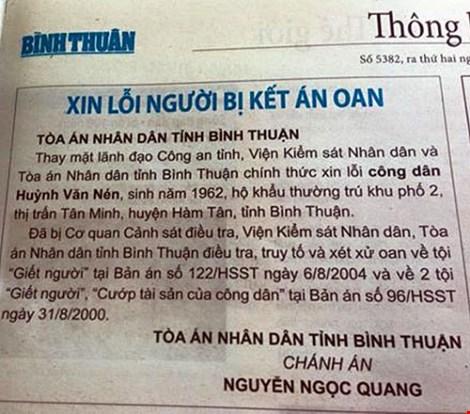 """Đăng báo """"xin lỗi"""" ông Huỳnh Văn Nén - 1"""