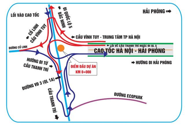 """""""Bí kíp"""" tránh đi lạc khi qua các nút giao cao tốc HN – HP - 1"""