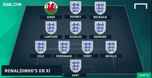 """MU """"nhuộm đỏ"""" đội hình hay nhất vương quốc Anh của Ronaldinho - 1"""