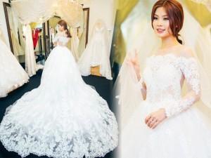 Diễm Trang một mình đi thử váy cưới cho hôn lễ ở quê