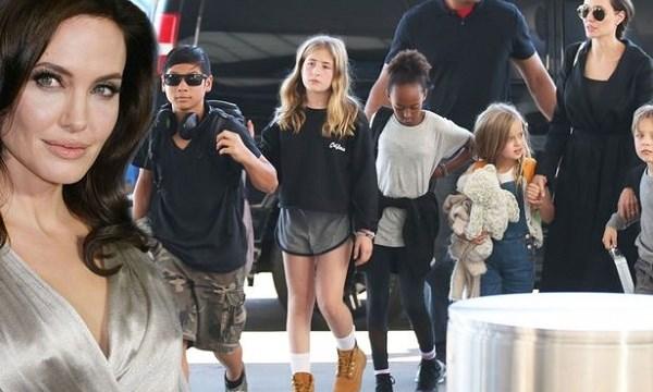 Angelina Jolie bị lên án vì... cho con cưỡi voi - 1