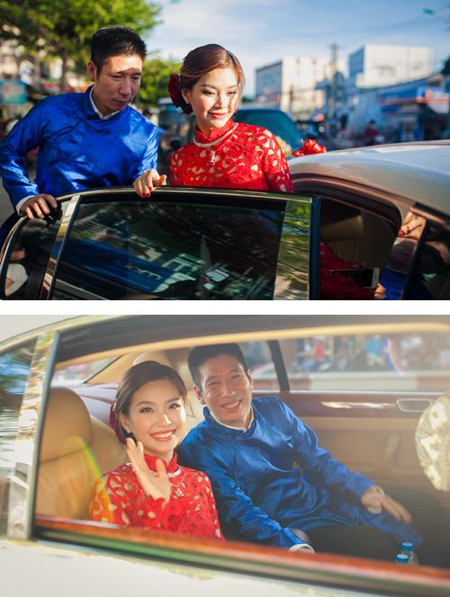 Á hậu Diễm Trang được đón bằng siêu xe trong đám hỏi - 14