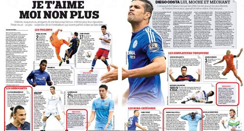 Ronaldo & Ibra kênh kiệu nhất, Costa bị căm ghét nhất - 2