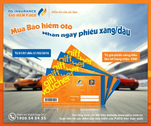 PJICO tặng phiếu xăng/dầu khi mua bảo hiểm vật chất xe ô tô - 1