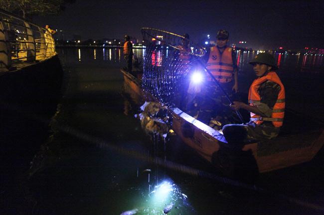 Chùm ảnh: Trắng đêm vớt cá chết ở Hồ Tây - 5