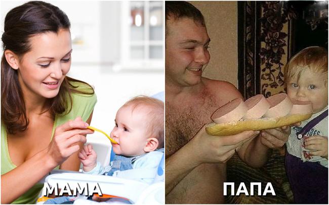 Hình ảnh đối lập khi bố mẹ cho con ăn.