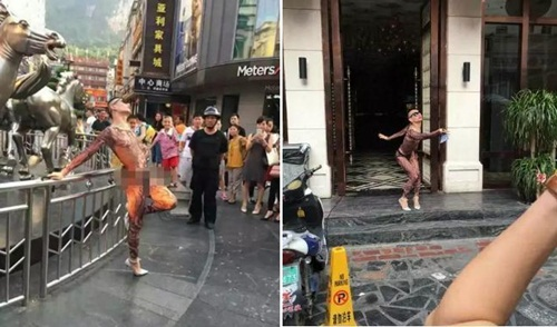 """Chàng trai mặc sexy, uốn éo ngoài đường bị cảnh sát """"sờ gáy"""" - 3"""