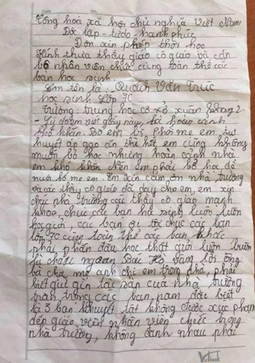 Xót xa học sinh lớp 7 xin nghỉ học vì nhà hết gạo - 2
