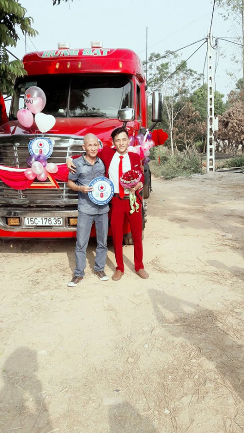"""9x Bắc Giang rước dâu """"cực chất"""" bằng xe container - 4"""