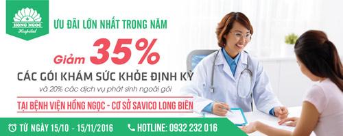 Ưu đãi 35% các gói khám sức khỏe định kỳ cá nhân tại BV Hồng Ngọc - 1