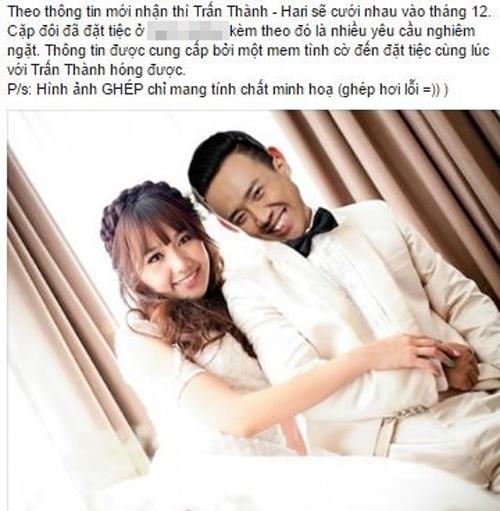 Fan 'Bấn loạn' vì tin Trấn Thành cưới Hari Won vào tháng 12