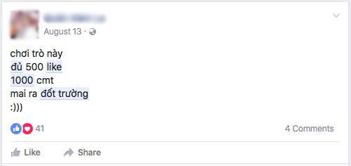 """Những status """"Đủ 1.000 Like đốt trường"""" nhan nhản trên Facebook - 6"""
