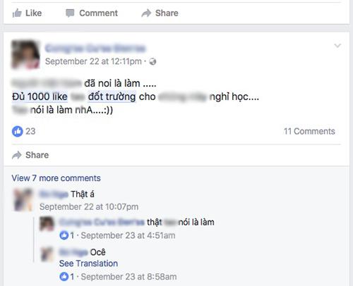 """Những status """"Đủ 1.000 Like đốt trường"""" nhan nhản trên Facebook - 7"""