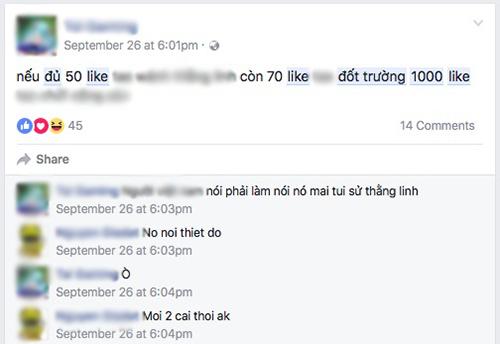 """Những status """"Đủ 1.000 Like đốt trường"""" nhan nhản trên Facebook - 8"""