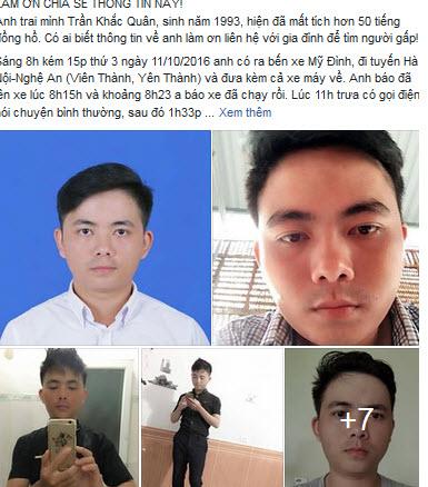 Nam sinh mất tích trên đường từ Hà Nội về Nghệ An - 1