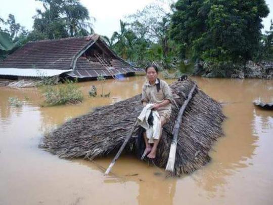 Chùm ảnh: Dân bám nóc nhà tránh lũ ở Quảng Bình - 2