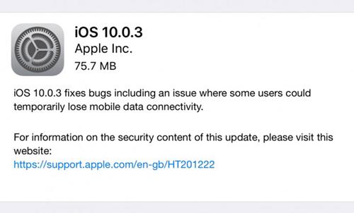 iPhone 7 nhận bản iOS 10.0.3, sửa lỗi mất sóng - 2