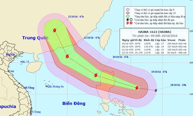 """Xuất hiện siêu bão mạnh cấp 17 """"nối đuôi"""" bão Sarika - 1"""