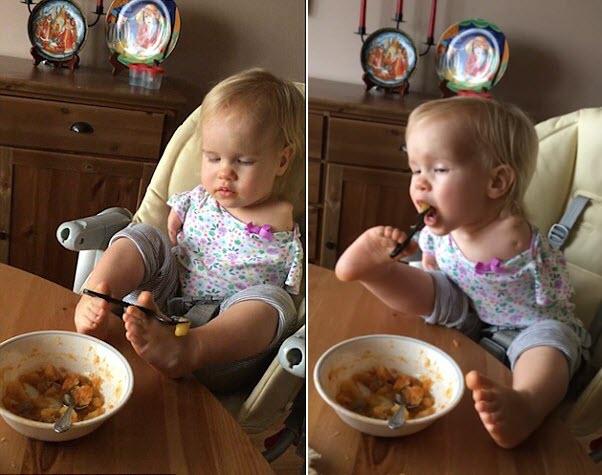 Em bé không tay tập ăn bằng chân khiến triệu người xúc động - 1