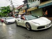 """Tư vấn - Ferrari 488 GTB của Cường """"đô-la"""" dẫn đầu đoàn siêu xe diễu phố"""