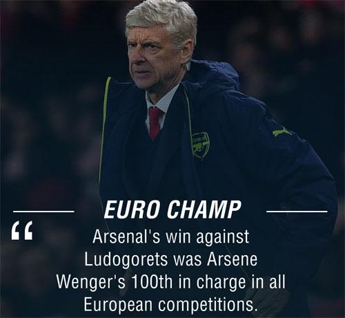 """Arsenal """"đánh tennis"""", Wenger cán mốc 100 ở châu Âu - 1"""