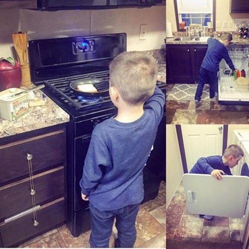 Tại sao mẹ Mỹ dạy con trai 6 tuổi nấu ăn và làm việc nhà? - 1