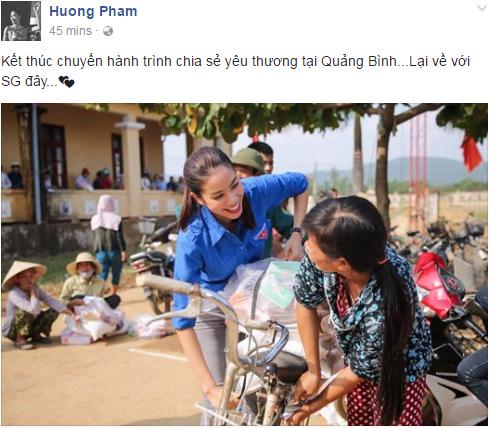 """Hoa hậu Phạm Hương """"hóa"""" tiên nữ tại vùng lũ Quảng Bình - 1"""