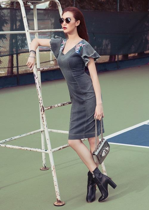 Khánh My táo bạo khoe áo ngực trên sân bóng tennis - 8