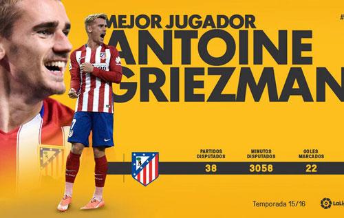 Cầu thủ hay nhất Liga: Griezmann số 1, CR7 trắng tay - 1