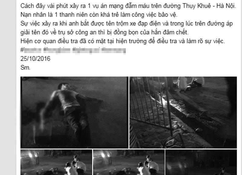 HN: Một bảo vệ bị đâm gục trên đường Thụy Khuê - 2